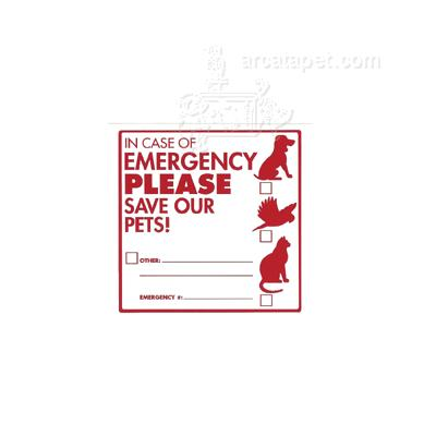 Decal In Case of Emergency PLEASE Save Our Pets! Click for larger image