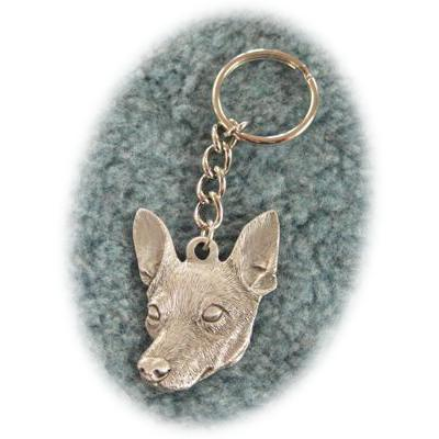 Pewter Key Chain I Love My Rat Terrier