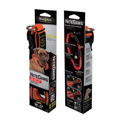 Nite Ize Night-Dawg Lighted LED Dog Collar Orange Large