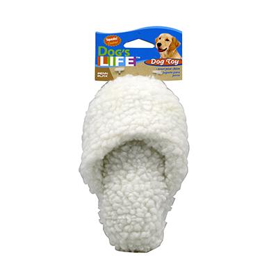 Fleece Slipper Dog Toy with Squeaker