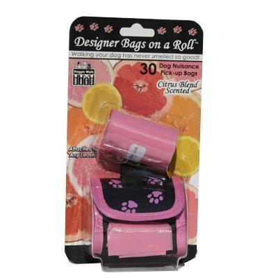 Pink Designer Dog Waste Bag Dispenser with 2 Scented Rolls