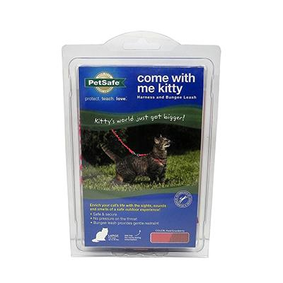 Come With Me Kitty Harness & Bungee Leash Red Lg