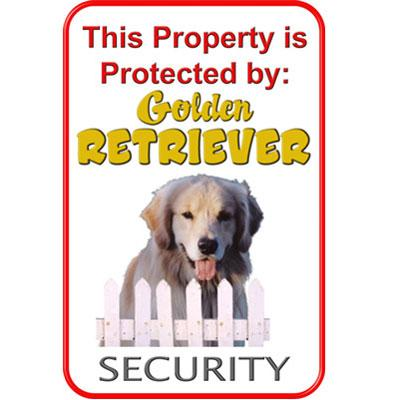 Sign Golden Retriever Security 12 x 18 inch Aluminum