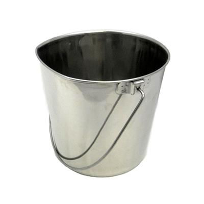 Stainless Flat Side Animal Feeding Pail 6 qt Click for larger image