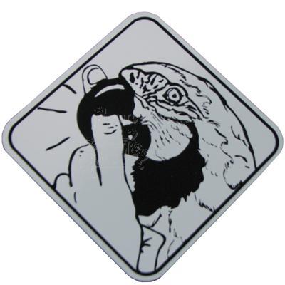 Aluminum Warning! Biting Parrot Sign  Click for larger image