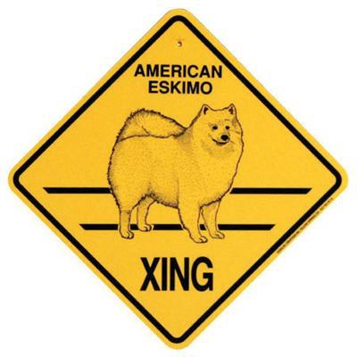 Xing Sign American Eskimo Plastic 10.5 x 10.5 inches Click for larger image