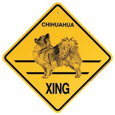 Xing Sign Chihuahua Long Coated Plastic 10.5 x 10.5 inches