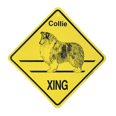 Xing Sign Collie Plastic 10.5 x 10.5 inches Click for larger image