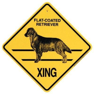 Xing Sign Flat Coated Retriever Plastic 10.5 x 10.5 inches