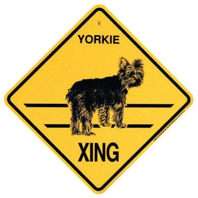 Xing Sign Yorkie Short Coat Plastic 10.5 x 10.5 inches