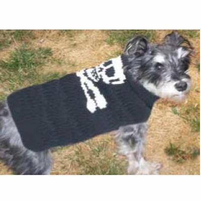 Handmade Dog Sweater Wool Skull & Crossbones Medium