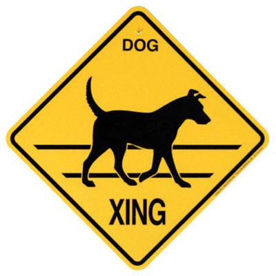 Xing Sign Dog Plastic 10.5 x 10.5 inches