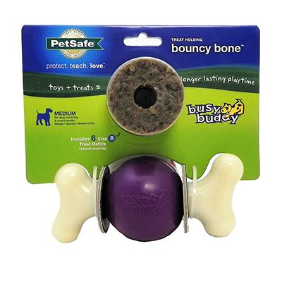 Busy Buddy Bouncy Bone Medium Treat Dispensing Dog Toy Click for larger image