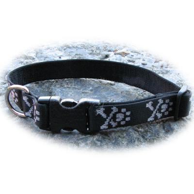 Dog Collar Adjustable Nylon Bling Bones 12-20 1 inch wide Click for larger image