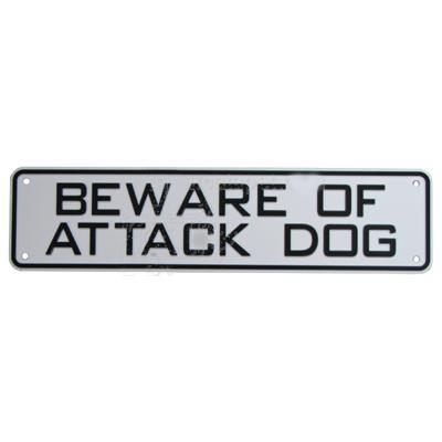 Sign Beware of Attack Dog 12 x 3  inch Plastic