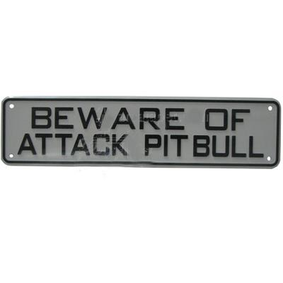 Sign Beware of Attack Pit Bull 12 x 3 inch Plastic Click for larger image