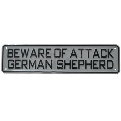 Sign Beware of Attack German Shepherd 12 x 3 inch Plastic