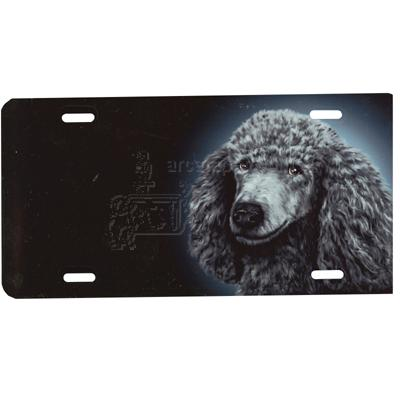 Aluminum Dog Breed License Plate with Silver Poodle
