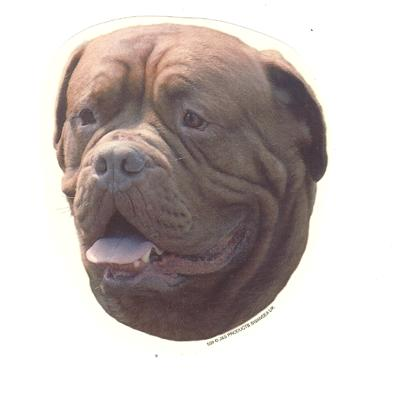 Double Sided Dog Decal Dogue de Bordeaux
