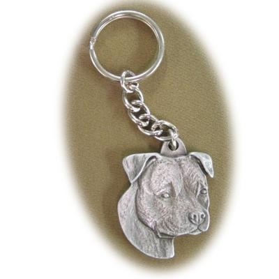 Pewter Key Chain American Staffordshire with Natural Ears Click for larger image