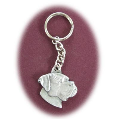 Pewter Key Chain Boxer with Natural Ears Click for larger image