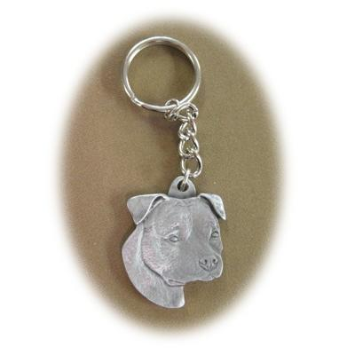 Pewter Key Chain Pit Bull with Natural Ears