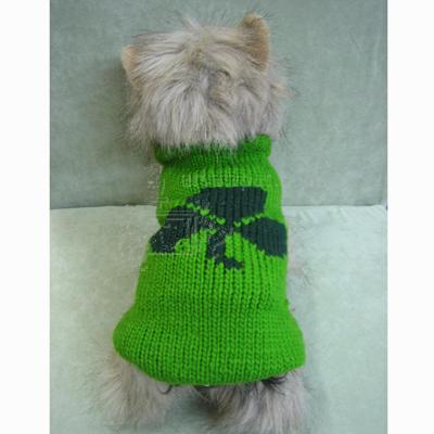 Handmade Dog Sweater Wool Shamrock Medium