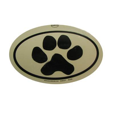 Euro Style Oval Dog Decal Paw Print