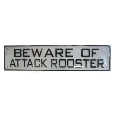 Sign Beware of Attack Rooster 12 x 3 inch Plastic