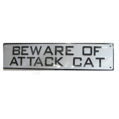 Sign Beware of Attack Cat 12 x 3 inch Plastic