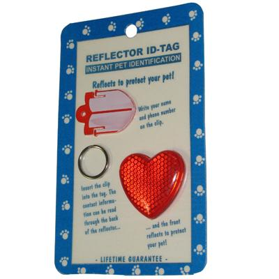 Reflex Large Heart Reflecting Dog Tag Red