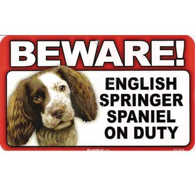 Sign Guard English Springer On Duty 8 x 4.75 inch Laminated
