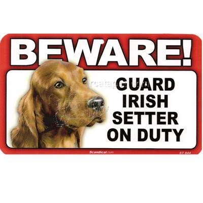 Sign Guard Irish Setter On Duty 8 x 4.75 inch Laminated