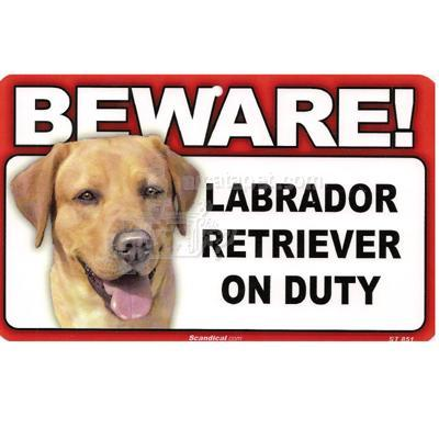 Sign Guard Laborador Yellow On Duty 8 x 4.75 inch Laminated