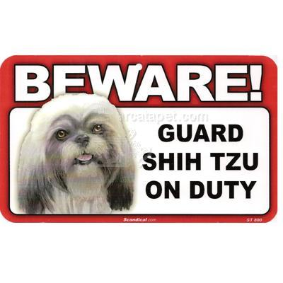 Sign Guard Shih Tzu On Duty 8 x 4.75 inch Laminated