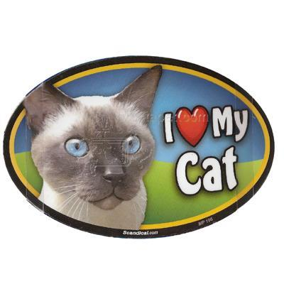Cat Image Magnet Oval Siamese