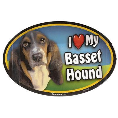 Dog Breed Image Magnet Oval Basset Hound