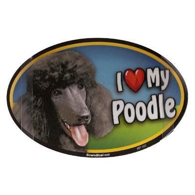 Dog Breed Image Magnet Oval Poodle Black