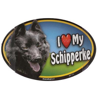 Dog Breed Image Magnet Oval Schipperke
