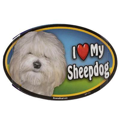 Dog Breed Image Magnet Oval Sheepdog