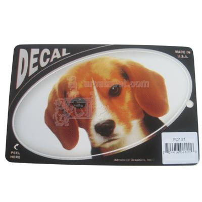 Oval Vinyl Dog Decal Beagle Picture