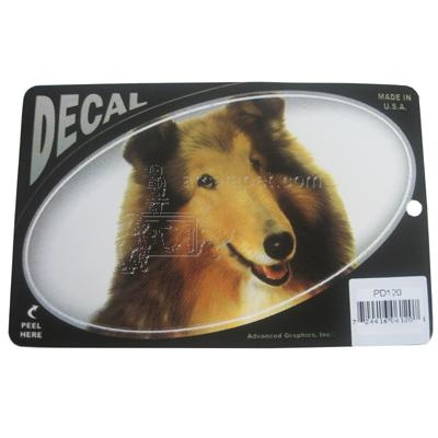 Oval Vinyl Dog Decal Collie Picture