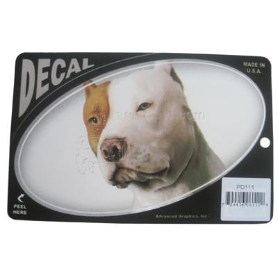 Oval Vinyl Dog Decal Pit Bull Picture