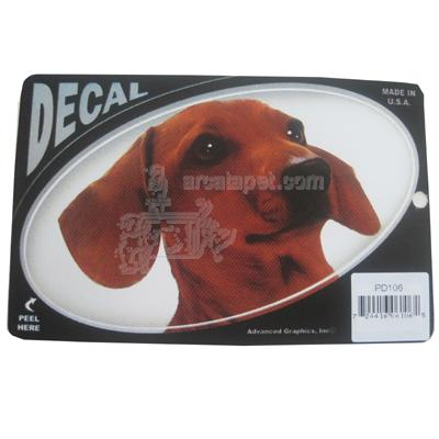 Oval Vinyl Dog Decal Dachshund Picture