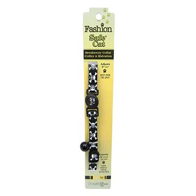 Safe Cat Black Skulls Breakaway Cat Safety Collar