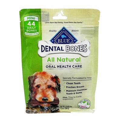 Blue Bones Mini Natural Dental Treat for Dogs 12-oz