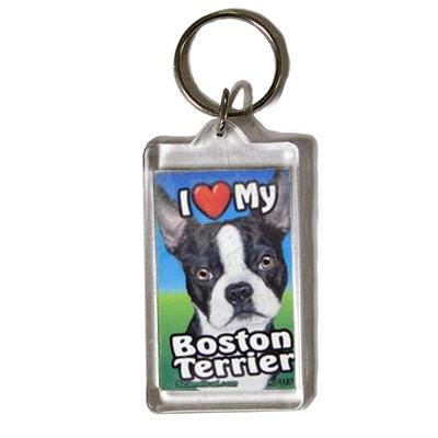 Plastic Keyring Boston Terrier