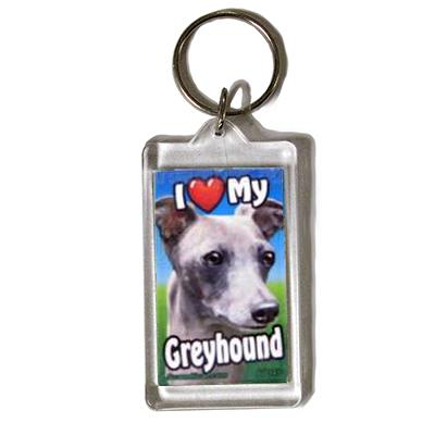 Plastic Keyring Greyhound