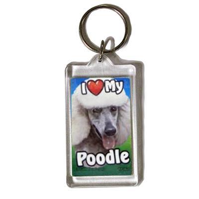 Plastic Keyring White Poodle