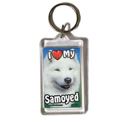 Plastic Keyring Samoyed
